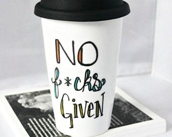 Funny Travel Mug, Travel Coffee Mug, No F*cks Given, Coffee Mug with Lid, Ceramic Travel Mug, Travel Mug, Sarcasm, Profanity, Swear Words