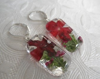 Red Verbena, Maroon Alyssum, Frosted Ferns Pressed Flower Domed Glass Rectangle Earrings-Symbolizes Enchantment-Nature's Art-Gifts Under 30