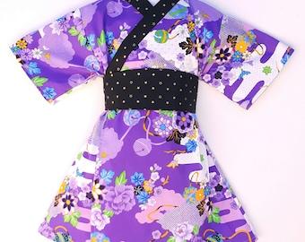Kimono Dress in PURPLE ASIAN Floral Yukata Modern Kimono Girls Baby Toddler Japanese