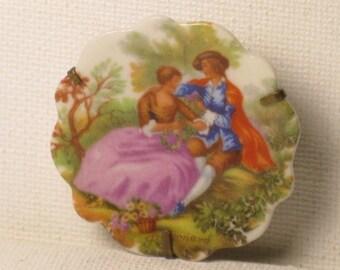 Antique Vintage Limoges Porcelain Fragonard Courting Couple Brooch Pin (B-3-5)