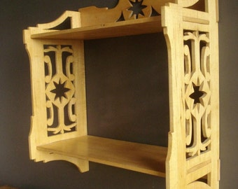 A Small Shelf - Vintage Wooden Mini Bookcase or Rack - Small Folk Art Style Wood Shelf