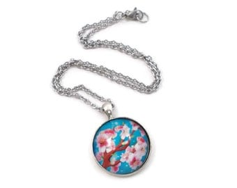 Cherry Blossom Necklace Cherry Blossom Pendant Pink and Blue Jewelry for Teens Tween Jewelry Teen Gift Ideas Tween Gifts Spring Jewelry