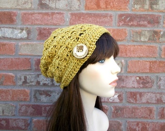 Slouchy Beanie, Spicy Mustard Yellow with Big Wooden Button, Crochet Hats for Women, Street Style, Teen Fashion, Cute Beanie, Fall, Winter