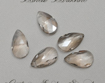 16 X 9 mm Smoked Crystal Teardrop Beads / Briolettes 10 Pieces