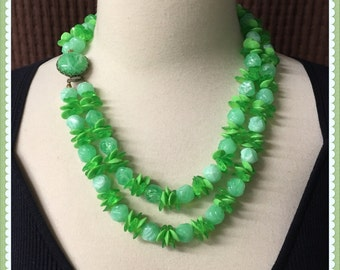 Vintage Green Double Strand Necklace, Chunky, Summer, Lemon Lime, Mint, 1950's 1960's