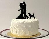 DOG + BRIDE + GROOM Cake Topper Silhouette Wedding Cake Topper with Pet Dog Family of 3 Cake Topper Hair Down Silhouette