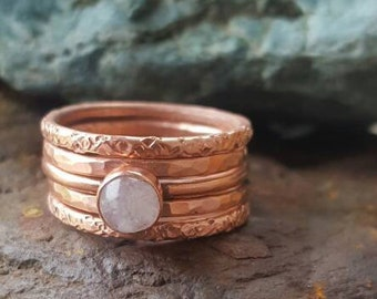 Copper Stacking Rings Set of 5, Trendy Boho Ring Set Stackers, Minimalist Jewelry, Thin Stackable Rings with Moonstone Crystal
