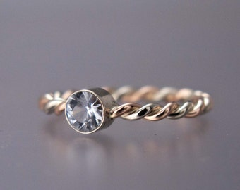 Gold Twist Engagement Ring - 4mm White Sapphire or Moissanite in Two Tone 14k White, Rose or Yellow Gold