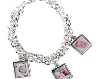 Personalized Mothers Christmas Gift/  Photo Charm Bracelet..Sterling Silver Photo Chain Mallie Bracelet with 3 Photo Charms. Christmas Gift