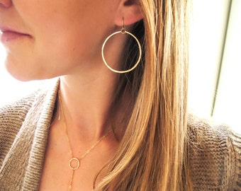 Rose Gold Good People Hoops - Medium Round 14K Rose Gold Filled Handmade Hoop Earrings