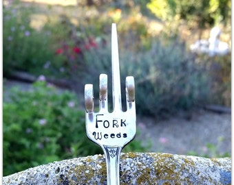 Fork Weeds Garden Marker Vintage Silverware Hand Stamped Giving the Finger Funny Plant Stake Flipping the Bird One Finger Salute