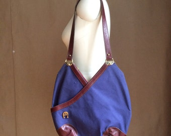 WEEKEND SALE! vintage 1980's boho canvas tote / purse / crossbody bag / navy blue and leather handbag / handmade Etienne Aigner