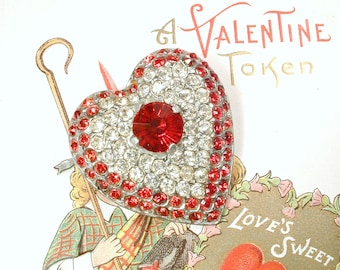 1930's Be Still My HEarT Vintage Red & Clear Rhinestone Brooch, Large Silver Art Deco Crystal Puffy Heart Antique Pin Valentine's Day Gift