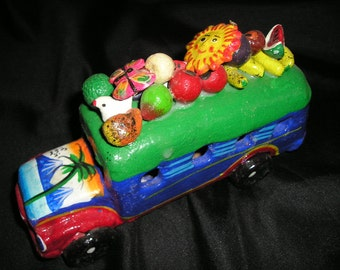 Whimsical Funcy Guatemalan Folk Art Clay Hand Painted Farm Bus Fruits and Grittes Tropical Fare.