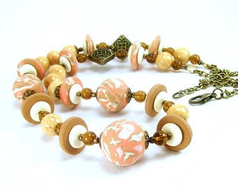Coral and Brown Beaded Necklace, Polymer Clay