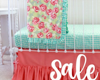 SALE * Coral and Turquoise Crib Bedding , Baby Girl Bedding , Floral Baby Bedding Bumperless cribset ruffle baby blanket Coral Nursery