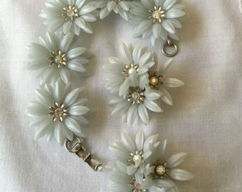 REDUCED, Vintage 1960's Coro Blue Flower Bracelet/Earring Set, Vintage Bridal Jewelry, Something Blue, Something Old, Retro, Bohemian