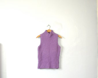 Vintage 90's purple fuzzy top, purple turtleneck, sleeveless, size medium