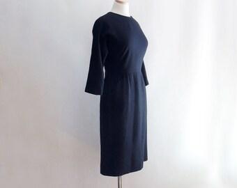 1960's Black Wool Wiggle Dress // by Susan Petites inc. // Little Black Dress // Size Small