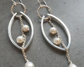 Modern Leaf Dangle Earrings -Pearl and Sterling Silver - Bridal Earrings- Duster Earrings
