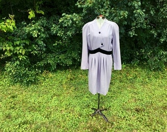 Designer Vintage Valentino Dress // Couture Italian Day Dress // Office Fashion Work Wear Purple Slate Gray Plus Size Couture XL