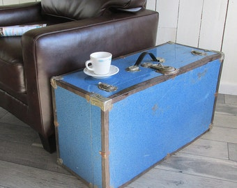 "Mid Century Blue Litho Metal Sided Trunk ""Great for Coffee Table, Storage, Decorating"""