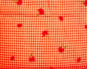 1970s Orange Gingham Fabric Orange White Check Red Floral Flocked Fabric Vintage Sewing Fabric