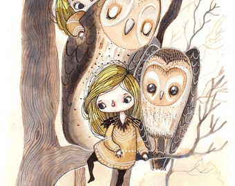 Waking The Autumn Guardians - A5 Print - forest owl girl owls girls native beast friends animal woodland fall neutral nature ink watercolour
