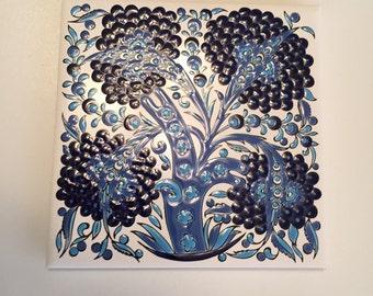 Nassos Ceramic Modern Handmade Tile/Greek Ceramic Tile / Art  Pottery Mid Century Tile/Ceramic Tile/Trivet Tile/  By Gatormom13