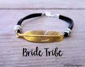 Bride Tribe ,Gold Feather Bracelet, Bachelorette Party Favors, Jewelry