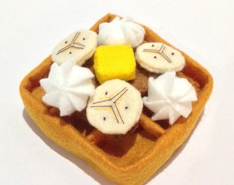 Felt food waffle set (banana), felt waffle, eco friendly felt play food for children's toy kitchen