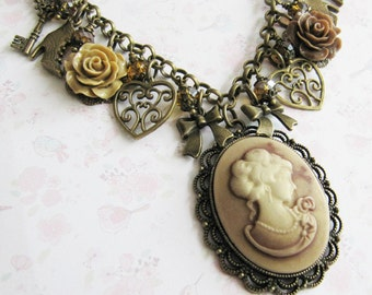 Cameo necklace, charm necklace, victorian style jewelry, chunky charm necklace, gift for her, Europe