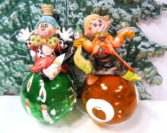 2 Resin Clowns & Mercury Glass Christmas Tree Ornaments, Depose Italy, 1970s, Christmas Tree Decoration