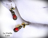 Red Victorian Earrings - Victorian Christmas Earrings, Victorian Jewelry
