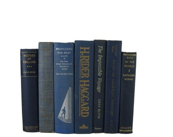 Blue  Old Decorative Books , Decorative Book Set , Photo Props ,  Wedding Book Decor , Book Lover Set