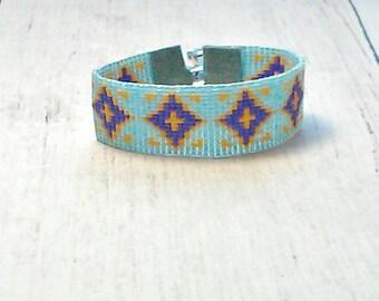 Bead Loom Bracelet - Diamond Shape Bead Bracelet - Beaded Bracelet - Adjustable Bead Bracelet - Boho Bead Bracelet - Rustic Bead Bracelet