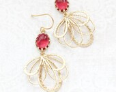 Gold Filigree Earrings Long Dangles Cherry Red Glass Pretty Modern Gold Feather Bridesmaid Gift Bridal Jewelry Nickel Free Gift for Her