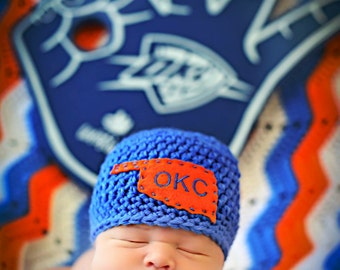 Newborn Baby Boy Photo Prop OKC Thunder Hat