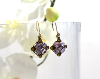 Small Dangle Drop Earrings with Lavender and Yellow Swarovski Crystals