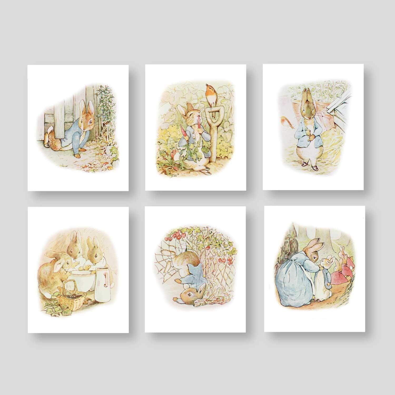 Peter rabbit wall art peter rabbit prints boy nursery decor - Peter rabbit nursery border ...