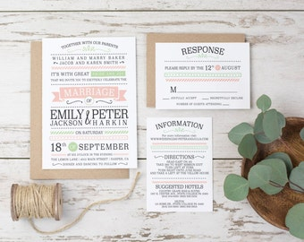 Wedding Invitation Template - Modern, Pink, Green, Simple Custom Printable DIY Wedding Invitation. Printable Typography (1066)