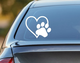 Dog Decal, Heart Paw Decal, Dog Paw Decal, Dog Paw, Cat Decal, Cat Paw Decal, Dog Car Decal, Cat Car Decal, Laptop Decal, Laptop Sticker