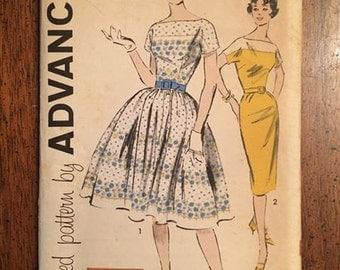 9334 1960's Dress with Full Skirt or Sheath Skirt Advance Pattern Bust 34