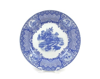 Spode Blue Room Plate - Blue and White Transfer Plate, Cabinet Plate, SEASONS Pattern Plate, June Month, Vintage Dinner Plate, c.1990s