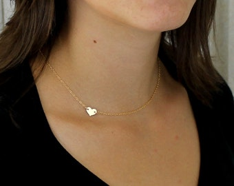 Gold heart Necklace / Sideways Heart Necklace / Minimal Necklace / Delicate Gold Everyday Simple Jewelry