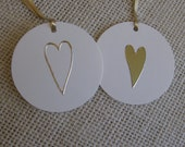 Gold Heart Gift Tags, Beige and Gold Tags, Set of 6, Wedding Anniversary Love Gift Tags