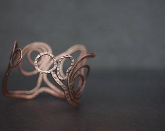 Landscape - Organic handmade textured copper bracelet cuff