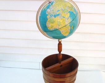 Vintage Globe | Floor Globe | Wood Magazine Stand | Wooden Basket | Rand McNally Globe | Half Barrel