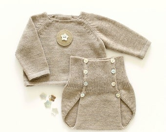 Knit baby set, sweater and diaper cover, latte. 100% merino wool. READY to SHIP size NEWBORN.