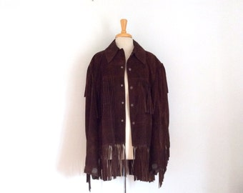 1960s 1970s suede jacket with tons of fringe size for women's large/xl  or mens medium/large